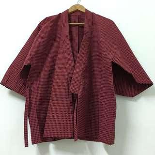 Vintage 暗紅黑點復古和服外套
