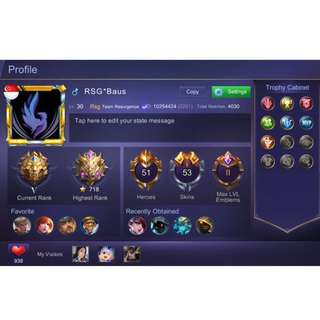 Mobile Legend Glorious Legend Account For Sale