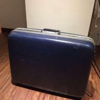 復古藍色行李箱