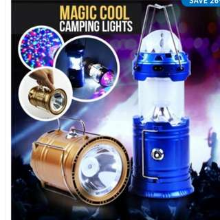 **NEW** Solar Lantern With Disco Lights And Torch, Solar Lamp, 3 In 1 Recharging Camping Lights, Solar LED Lamp, Golden Color