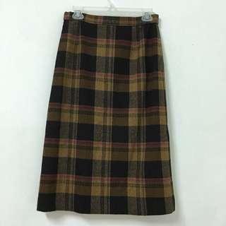 Vintage 日本古著格紋毛呢裙