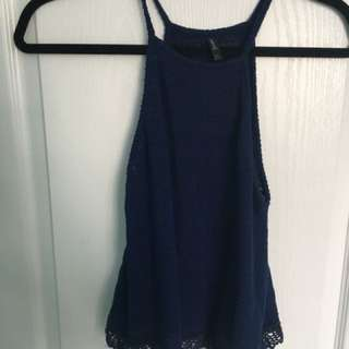 Blue knit tank top