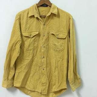 復古燈芯絨黃襯衫 (厚)