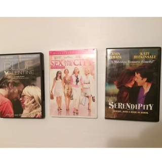 SEX & THE CITY, Serendipity + BLUE VALENTINE - Ryan Gosling - ALL 3 FOR $6
