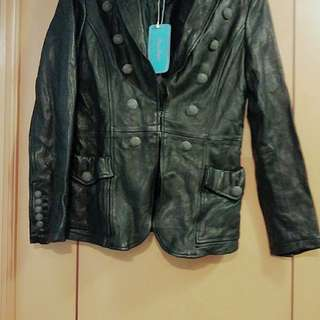 "New Japanese Kitson brand ""party people' black wrinkled leather jacket size S"