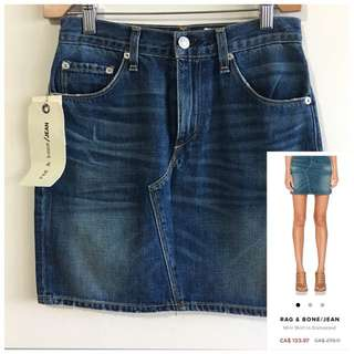 BNWT Rag & Bone 24 Mini Skirt in Distressed Denim