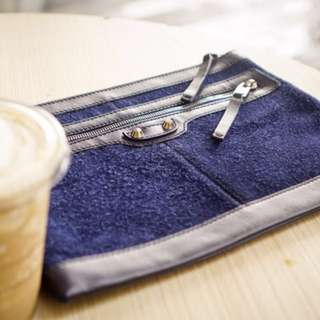 Balenciaga Leather Clutch (Suede in Navy Blue)