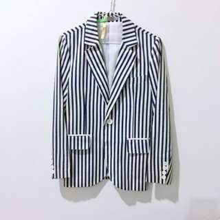 Dior藍白條紋西裝外套