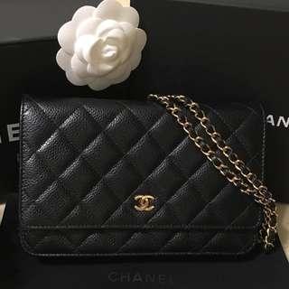 Chanel Woc黑金荔枝皮肩背包(正品)