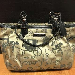 COACH Horse and Carriage Signature Pleated E/W Gallery Tote Bag