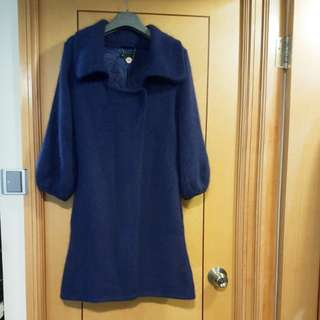 New JDC brand thick Angora wool blue coat size S/M