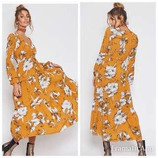 Popcherry Size M(10) Yellow Floral Maxi Dress