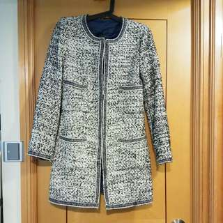 Chanel style black & white long jacket size S