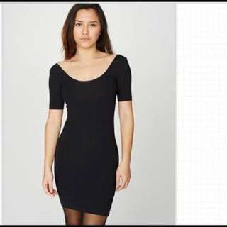 American Apparel Low Back Black Bodycon Dress Size Small S /XS