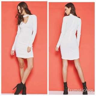 Popcherry Size M(10) White L/S Bodycon Dress
