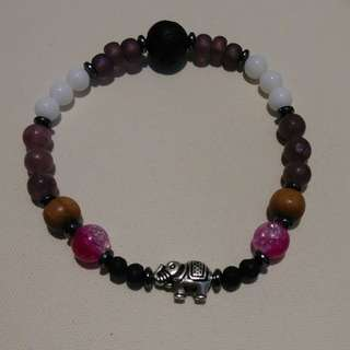 Purple Stone/Sandalwood Essential Oil Bracelet