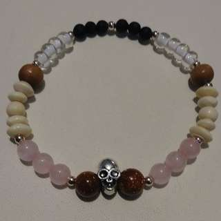 Rose Quartz Skull Essential Oil Bracelet