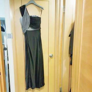 New grey & black silk cocktail dress/ evening gown size S