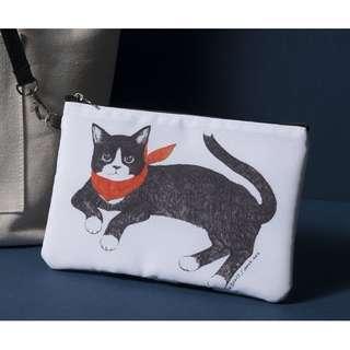 全新/ 雙面圖案貓咪化妝包(收納包)