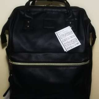 Anello Large Back Pack Black Leather