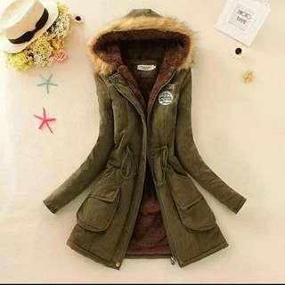 2017新款韓版女用中長版加厚毛領外套