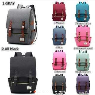 #2054 Korean Canvas Bagpack