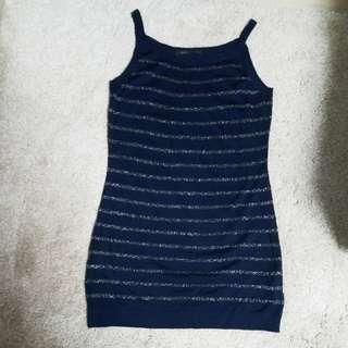 New Marc Jacob wool label- cut 剪牌 navy blue / silver stripes  long vest/ top / mini dress
