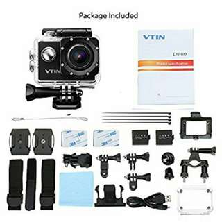 """Vtin 2"""" 1080P 12MP Action Camera Video Cam, Waterproof Camcorder with WIFI Control 170 Degrees Wide Angle for Sport Snorkeling Diving with 2 Batteries (18 FREE Accessories)"""