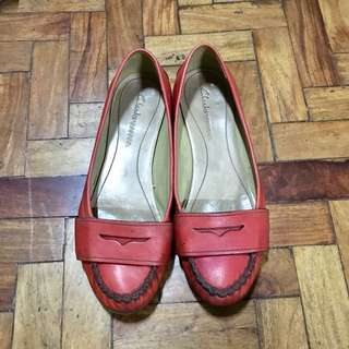 Clarks Red Loafers