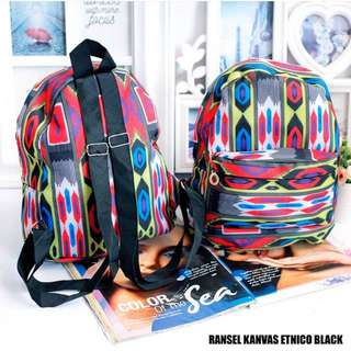 Ransel Canvas Etnico Black