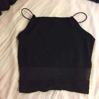 Black square neck spaghetti strap mesh insert high neck crop top