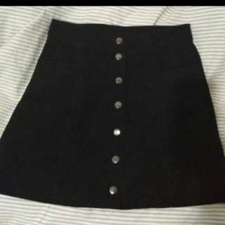 Button Skirt H&M Black
