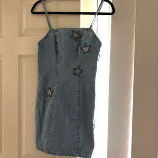 minkpink denim star dress