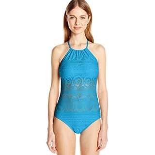 Kenneth Cole Reaction Blue Crochet Swimsuit Size 10-12