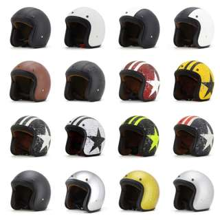 Many Colours/Designs Motorcycle Helmet Open Face Three Button Snap Retro Vintage Vespa Scooter Cafe Racer Motorbike Leather Gloss Old School Harley Davidson