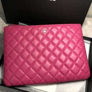 chanel bag clutch case 桃紅色 手包 pink rose color