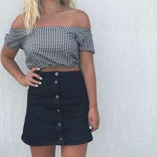 Lily loves black A-line denim skirt 8