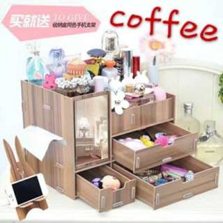 DIY Wooden Makeup Organizer with Mirror (Coffee)