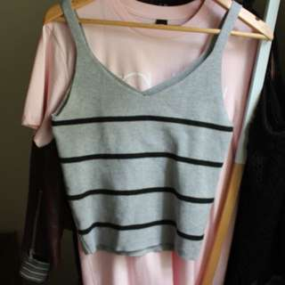 Grey striped knit top