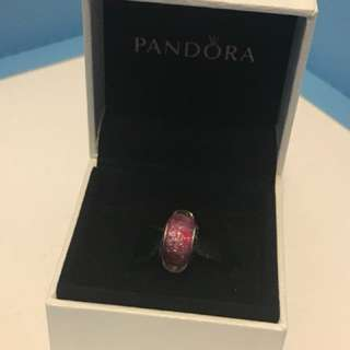 PANDORA DISNEY ANNA SILVER CHARM WITH PINK FLUORESCENT MURANO GLASS
