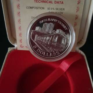 1989 Singapore Mrt Silver Proof Coin