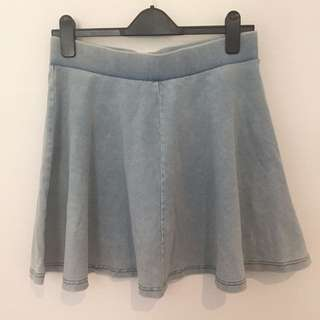 Topshop light wash denim skirt