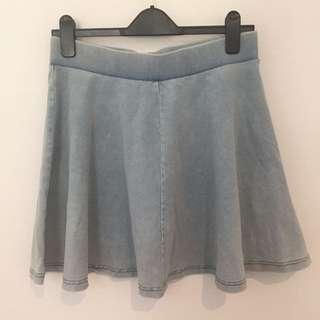 Topshop light wash denim skirt