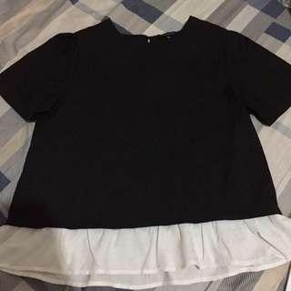 Blouse hitam renda putih fit to XL