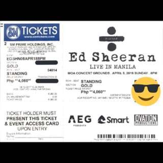 Ed Sheeran Live in Manila GOLD Tickets