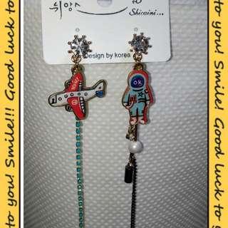 韓國時尚誇張耳環飛機太空人長款耳釘耳環