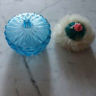 gorgeous vintage blue cut plastic powder puff