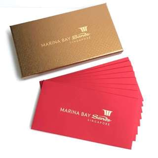 Marina Bay Sands MBS Exclusive Ang Pow Red Packet in Golden Bronze Box 8pcs