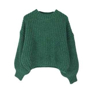 可愛澎袖粗針織毛衣