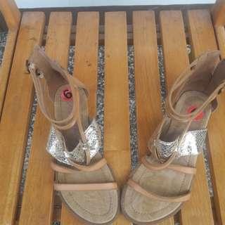 Blowfish Gladiator Style Metallic-Detailed Leather Sandals